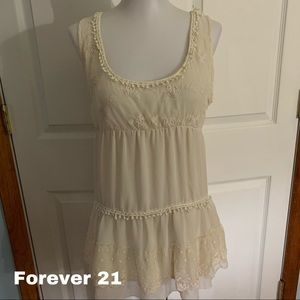 Forever 21 boho lace tiered textured top size XS